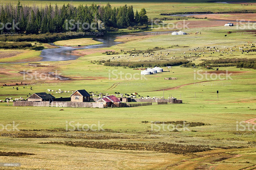 Valley of river in north Mongolia stock photo