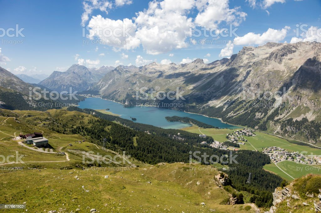 Valley of the beautiful Engadin with lake Lej da Segl, Graubunden, Switzerland stock photo