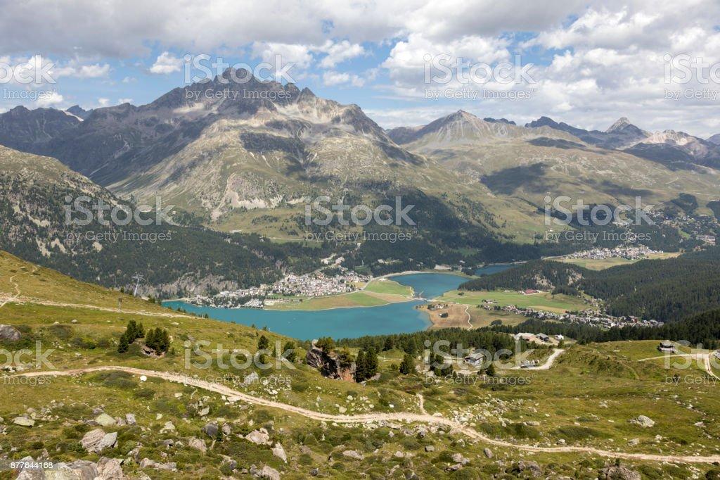 Valley of the beautiful Engadin with lake silvaplana, Graubunden, Switzerland stock photo