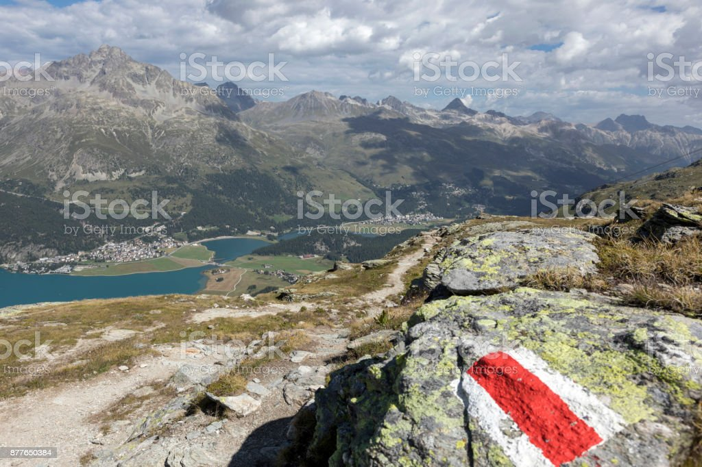 Valley of the beautiful Engadin with signpost, Graubunden, Switzerland stock photo