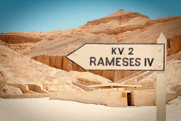 Valley of the Kings in Luxor Sign with direction to the tomb of Rameses IV in the Valley of the Kings in Luxor, Egypt Tomb Of Ramses III stock pictures, royalty-free photos & images