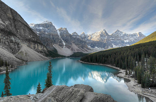 Valley of the Ten Peak,Banff National Park Valley of the Ten Peaks, Banff National Park, Alberta, Canada, at sunrise. valley of the ten peaks stock pictures, royalty-free photos & images