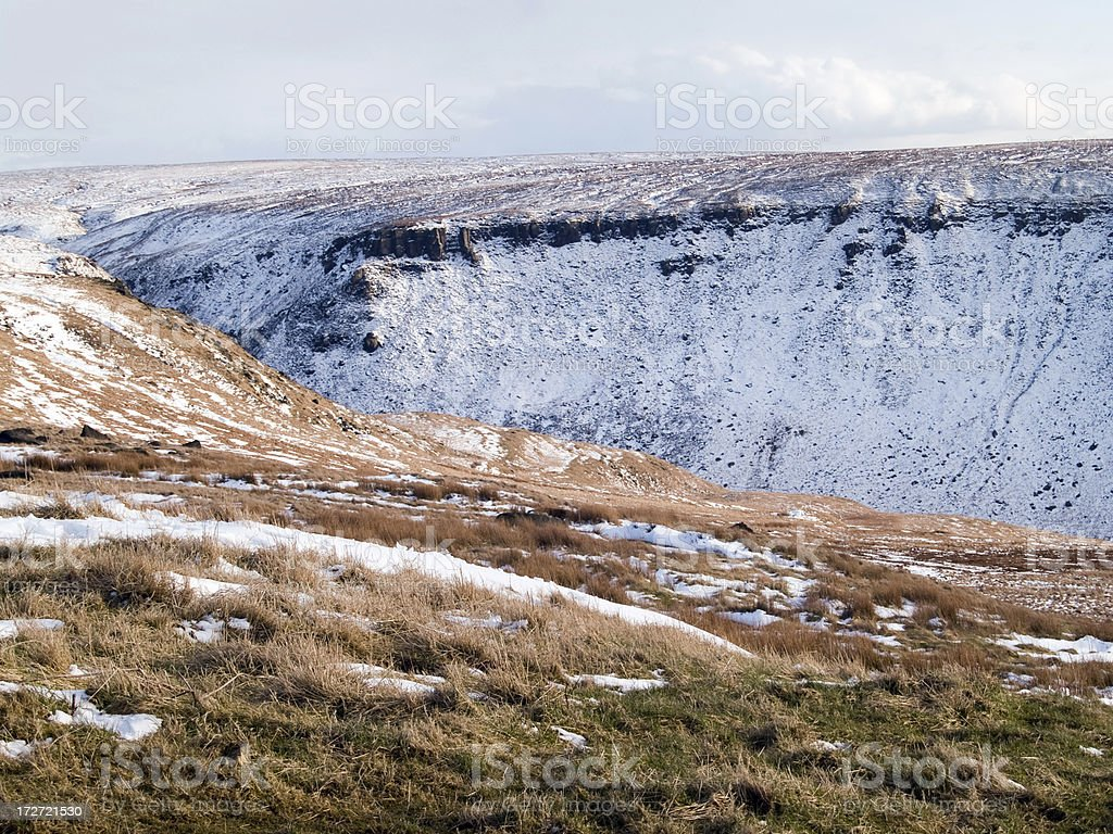 Valley on Saddleworth Moor and patchy snow royalty-free stock photo