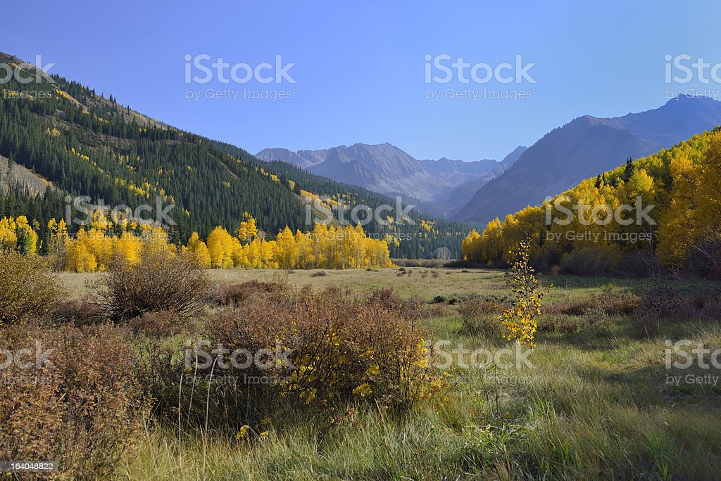 valley on Taylor Pass near Aspen and Castle Creek Road royalty-free stock photo