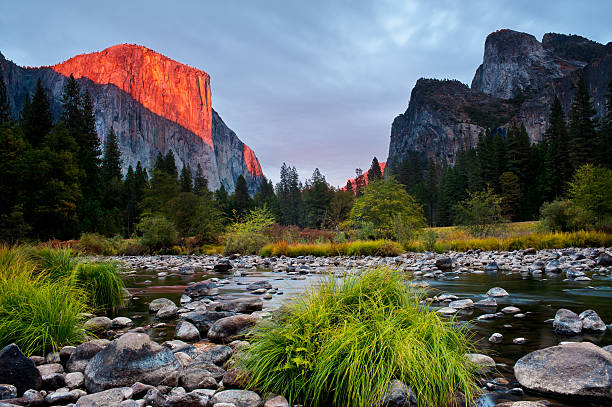 Valley View in Yosemite National Park at sunset stock photo