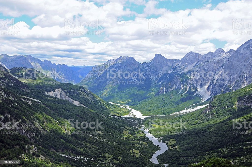 Valley view of Valbona Valley National Park stock photo