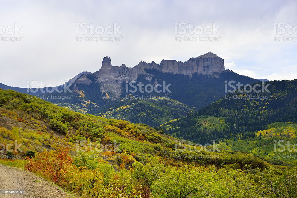 valley with yellow and green trees in colorado during foliage royalty-free stock photo