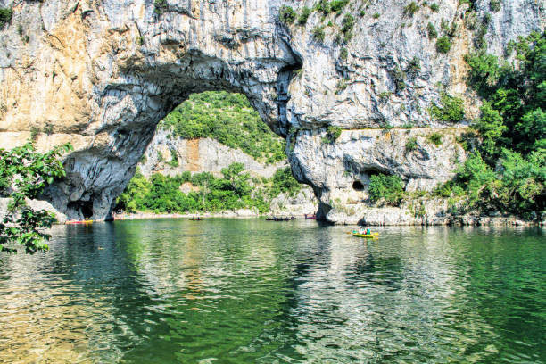 Vallon Pont d'Arc, Natural Rock bridge over the River in the Ardeche Canyon stock photo