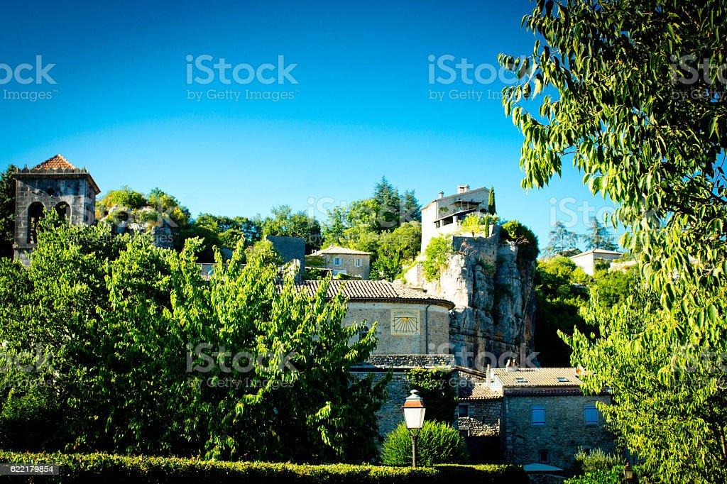 Vallon Pont D'Arc village stock photo