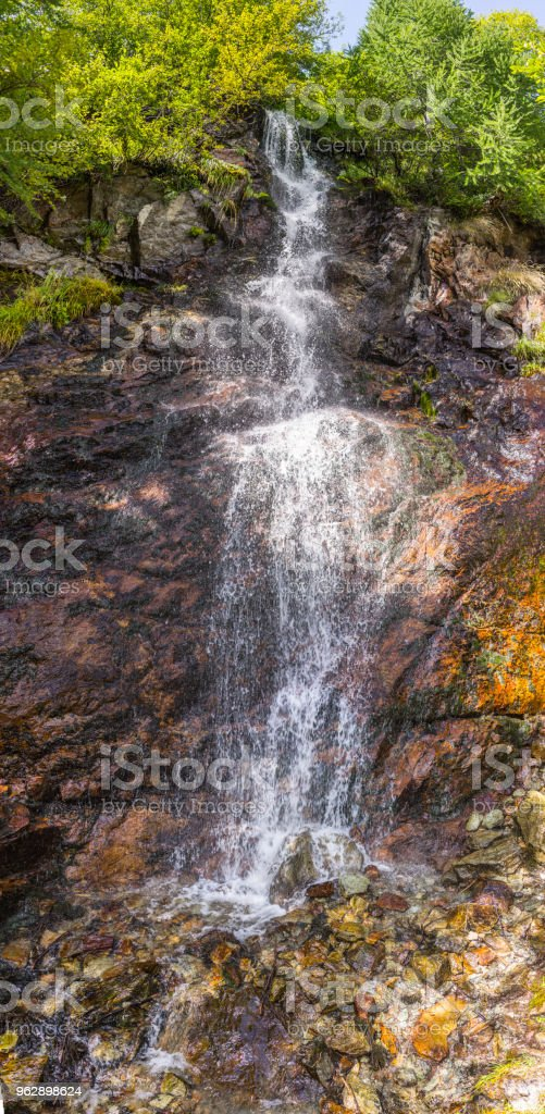 Valpelline, Aosta Valley, Italy. Small waterfall at high altitude, near the border with Switzerland stock photo