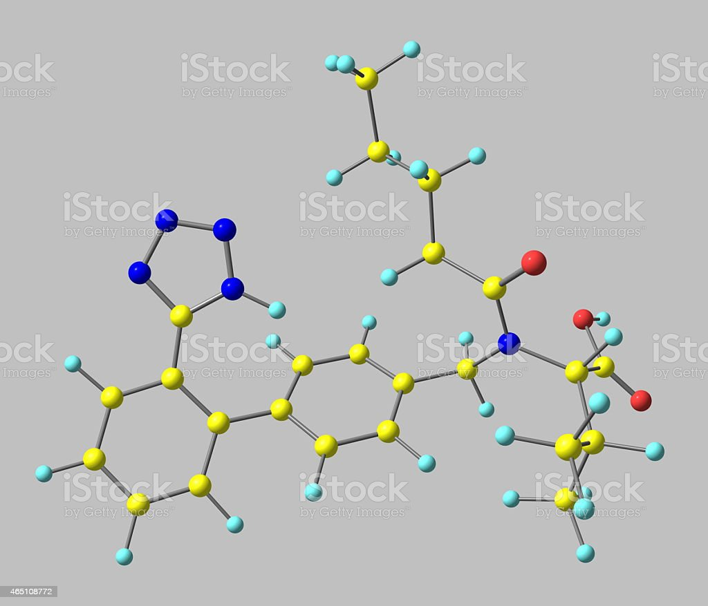 Valsartan molecular model isolated on grey stock photo