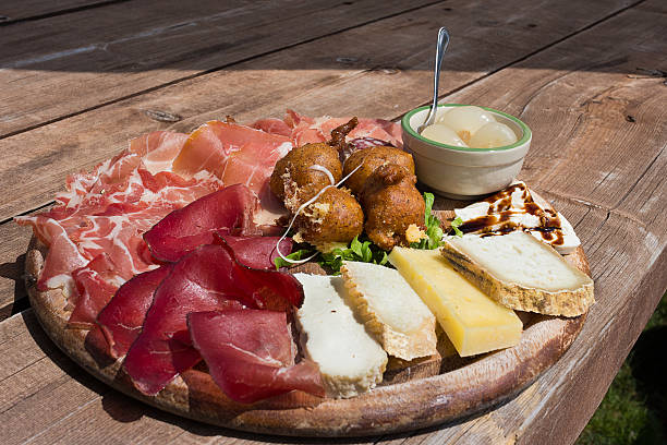 Valtellina - Typical culinary delights served at the alpine huts stock photo