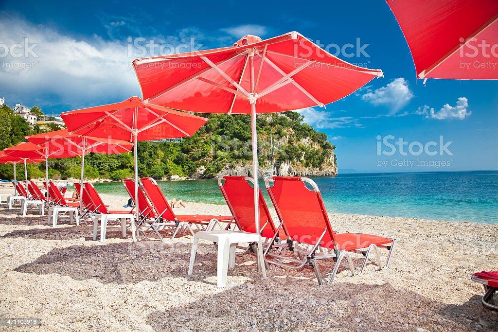 Valtos beach near Parga town of Syvota area in Greece. stock photo