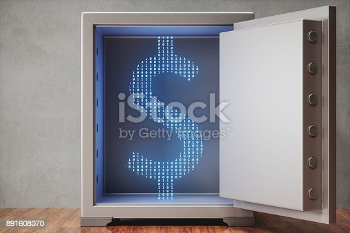 istock Valuable Digital Asset In Safe 891608070
