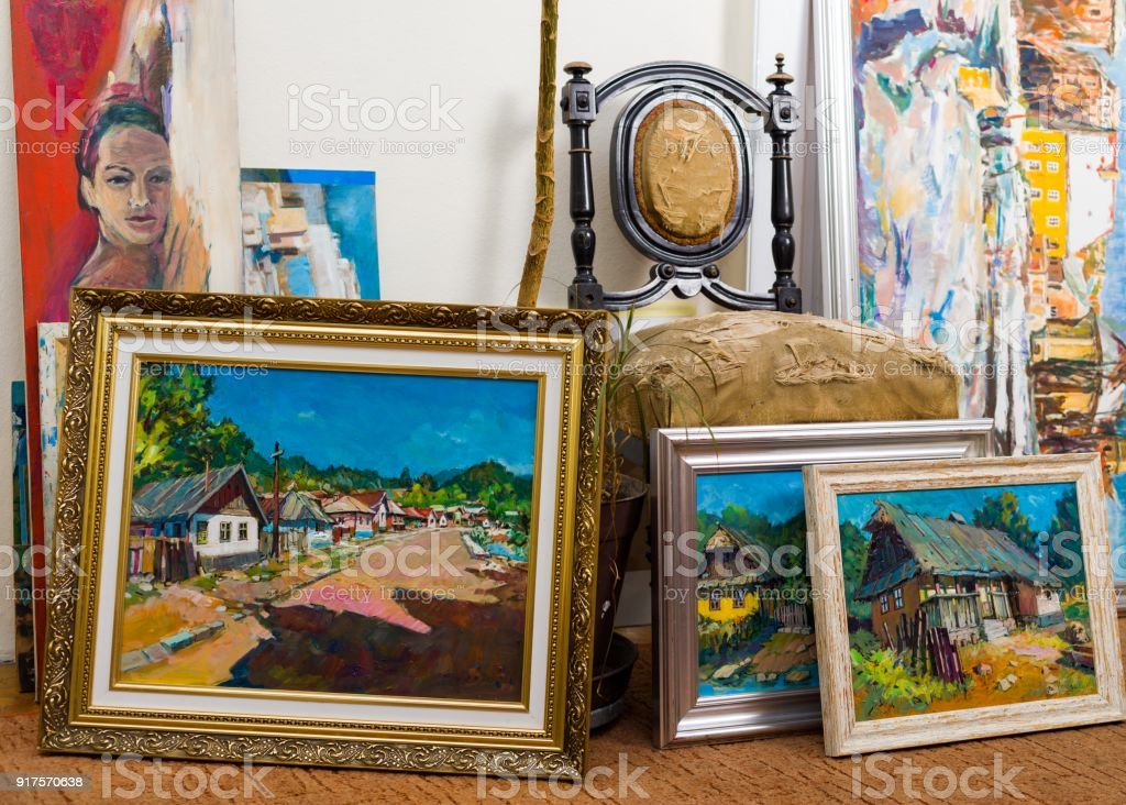 Valuable paintings collection royalty-free stock photo