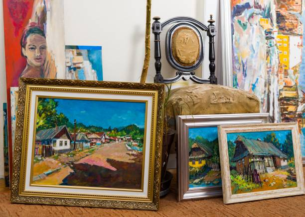 Valuable paintings collection stock photo
