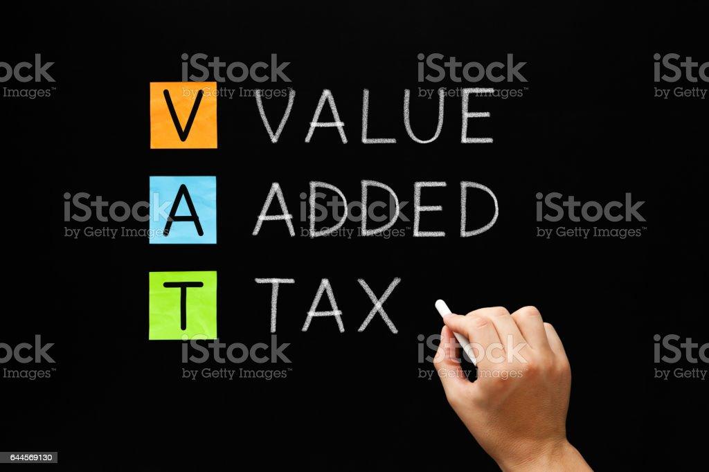 VAT - Value Added Tax On Blackboard stock photo
