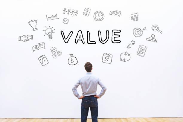concepto de valor de negocio - misión fotografías e imágenes de stock