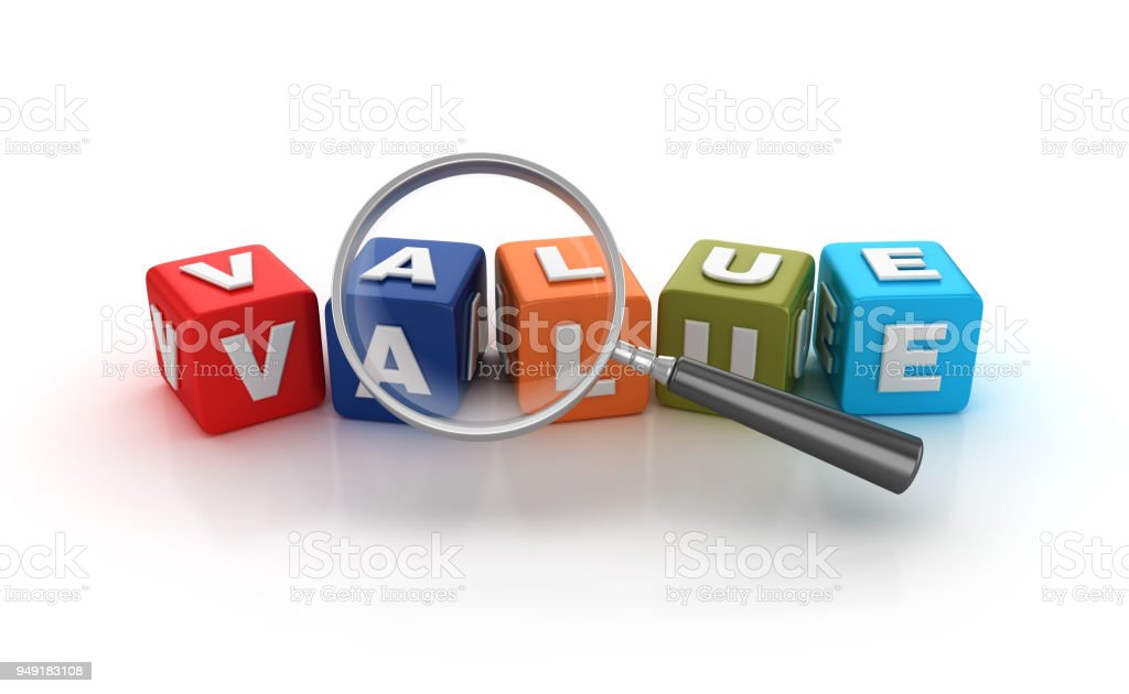 Value Buzzword Cubes with Magnifying Glass - 3D Rendering stock photo