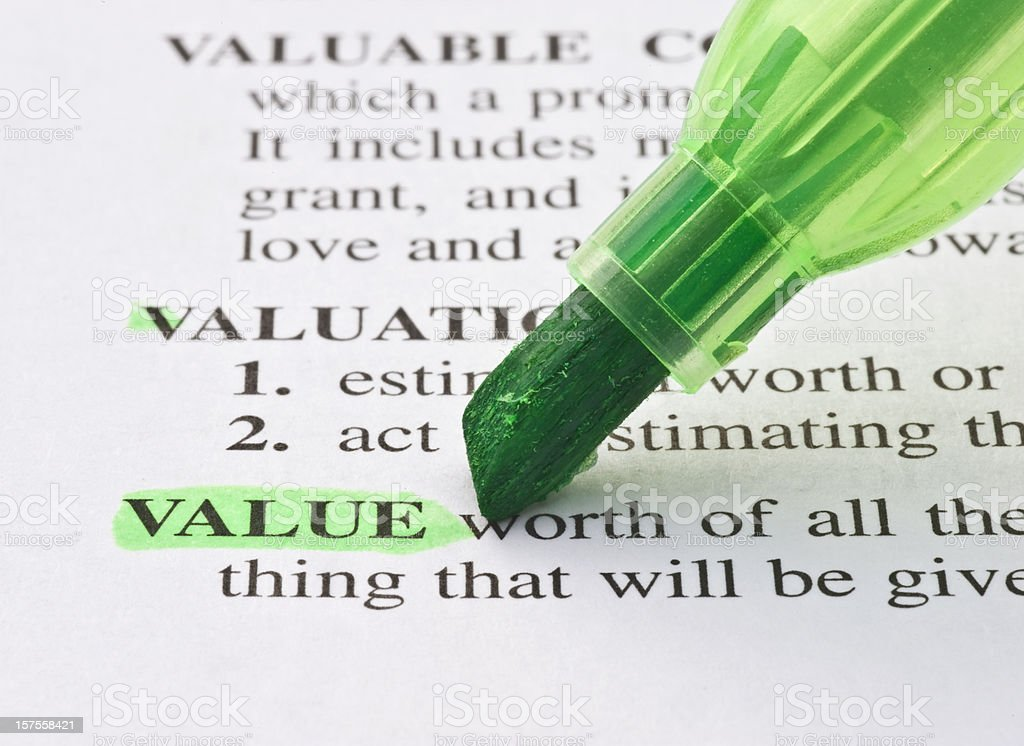 value definition highligted in dictionary royalty-free stock photo