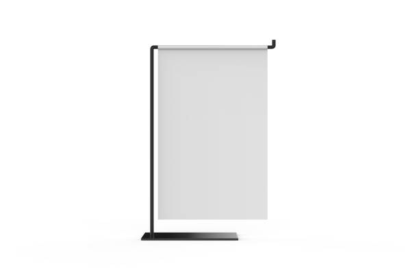 value line metal counter top sign holder or vertical banner display, mock up template on isolated white background, 3d illustration - язык знаковая система стоковые фото и изображения