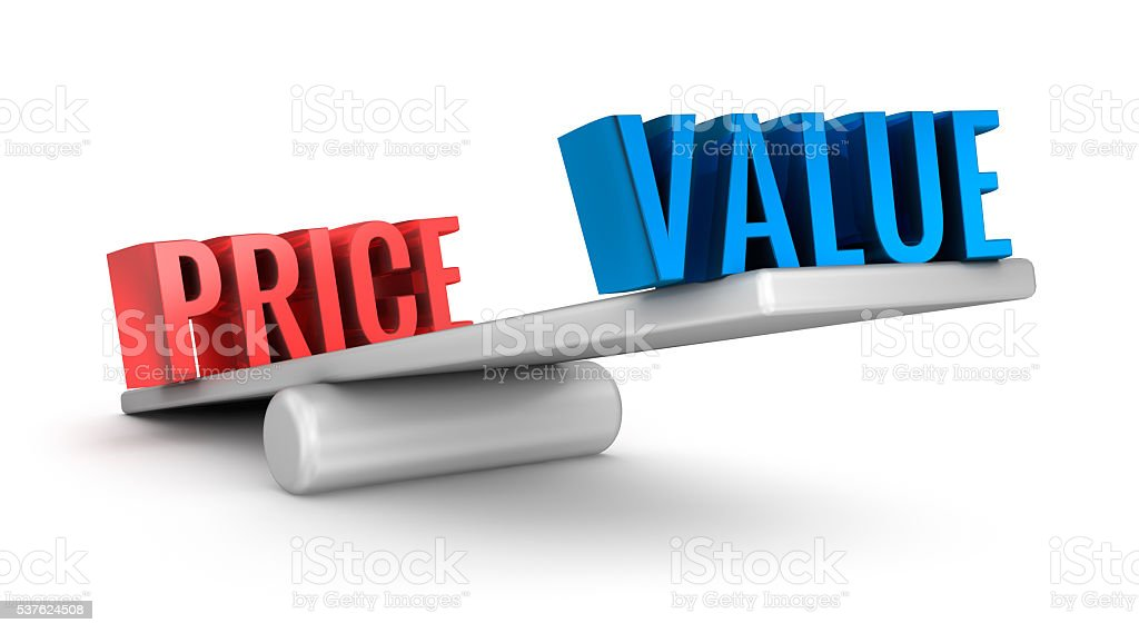Value Price scale 3d word concept over white stock photo