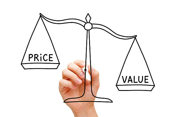 Value Price Scale Concept Hand drawing Value Price scale concept with black marker on transparent wipe board isolated on white. miserly stock pictures, royalty-free photos & images
