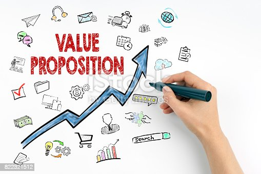 istock Value Proposition Concept. Hand with marker writing 822321512