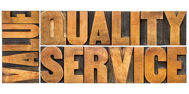 value, quality, service typography stock photo