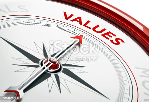 istock Values Concept: Arrow of A Compass Pointing Values Text 859525326