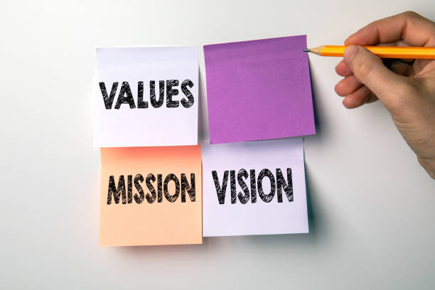 Values, Mission and Vision concept. Sticky notes stock photo