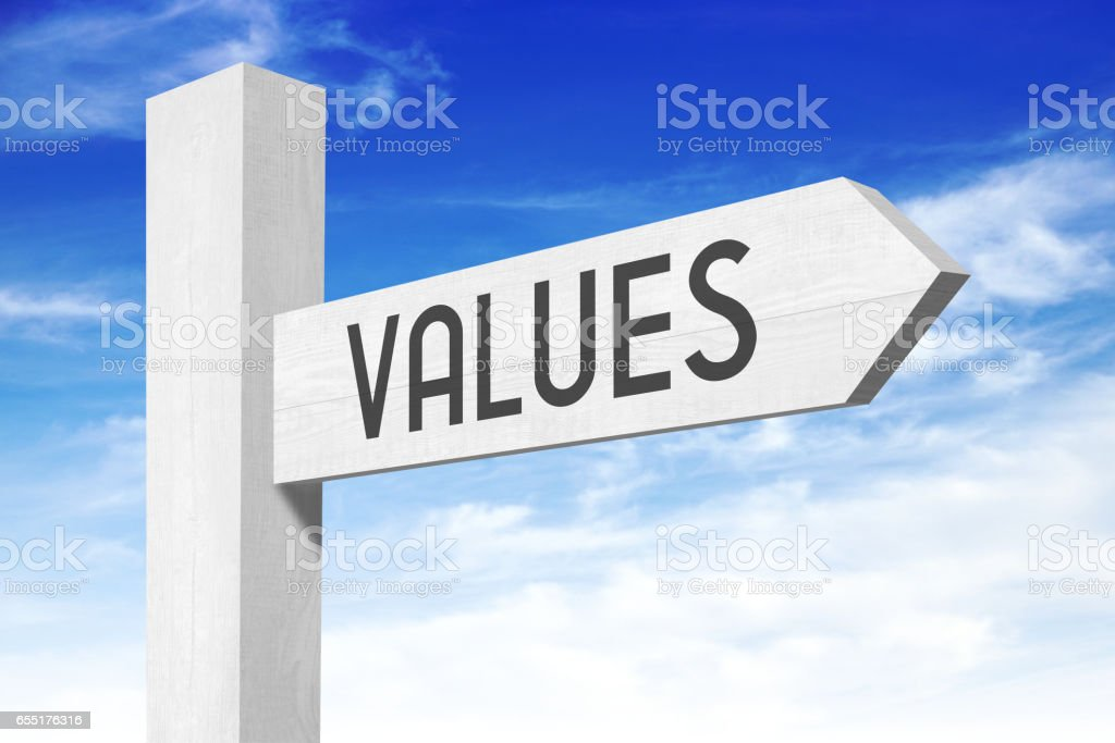 Values - white wooden signpost with one arrow stock photo
