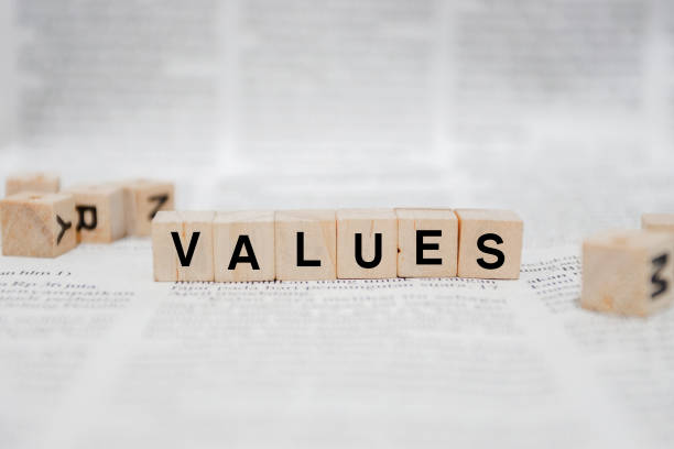Values Word Written In Wooden Cube - Newspaper stock photo
