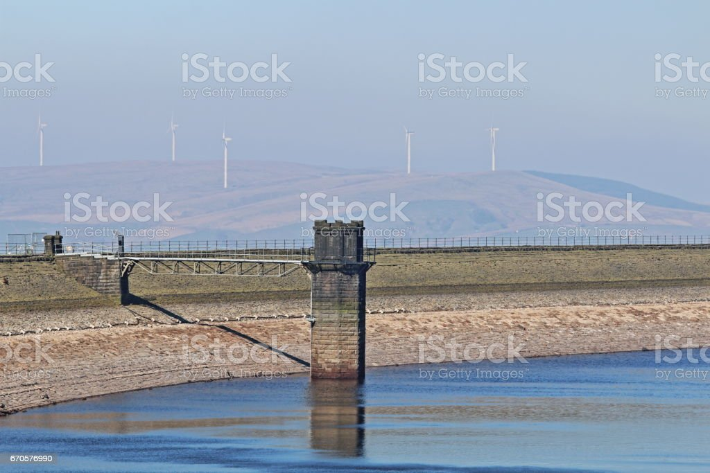 Valve Tower at Drained Warland Reservoir, Rochdale, Manchester, UK stock photo