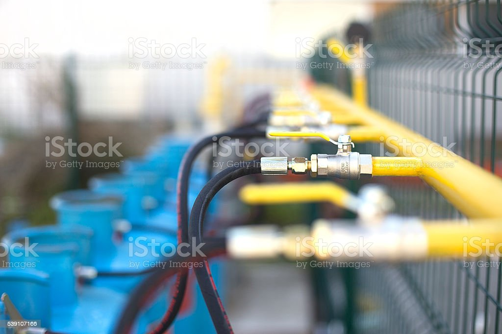 Valves for Lpg Gas Cylinders on Pipeline stock photo