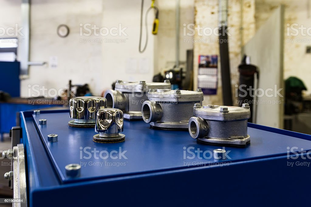 Valves in the workshop stock photo