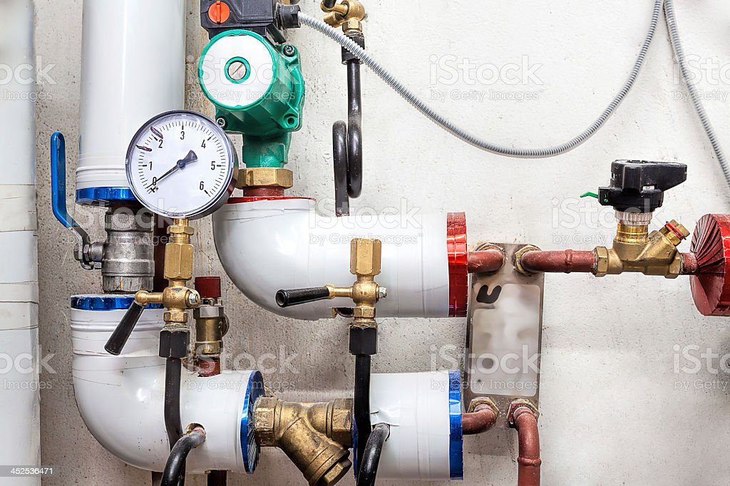 Valves of a heating system stock photo