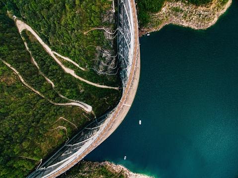Valvestino Dam in Italy. Hydroelectric power plant.