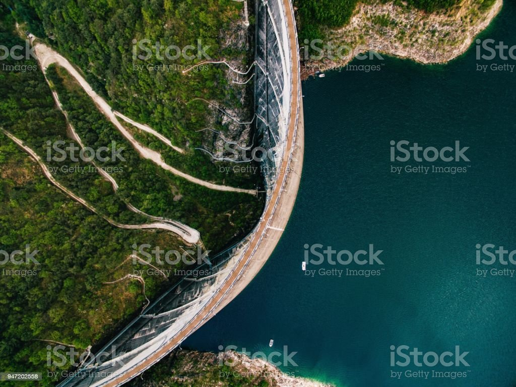 Valvestino Dam in Italy. Hydroelectric power plant. stock photo