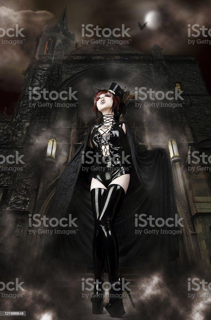 Vampira's Castle - Sexy Vampire guarding her Lair stock photo