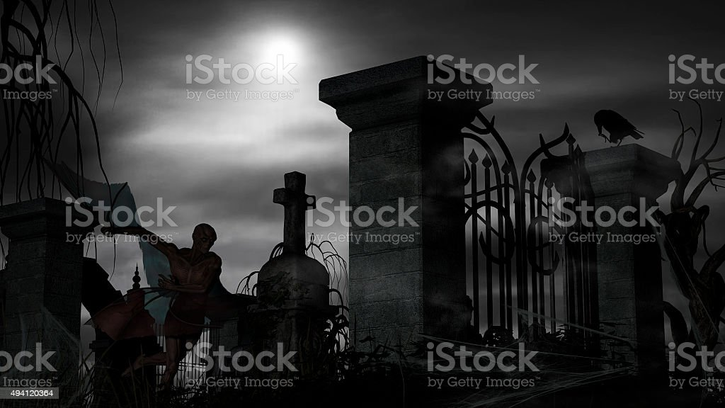 Vampire at a graveyard on a foggy night stock photo