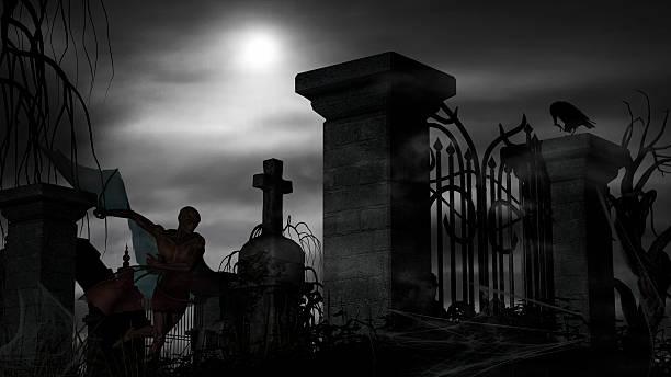 vampir auf einem friedhof an einem nebligen abend - graf dracula stock-fotos und bilder
