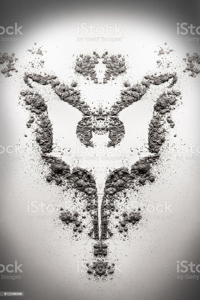 Vampire Bat Monster Symbol Illustration As Silhouette In Dust Ash