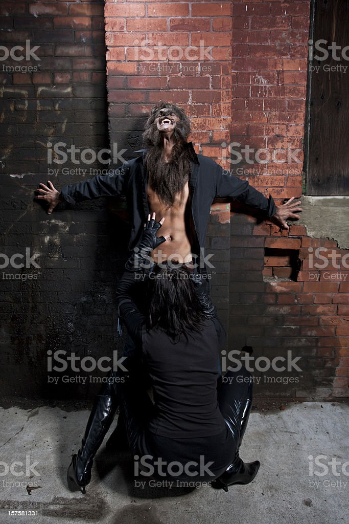 Vampire blowing a werewolf stock photo