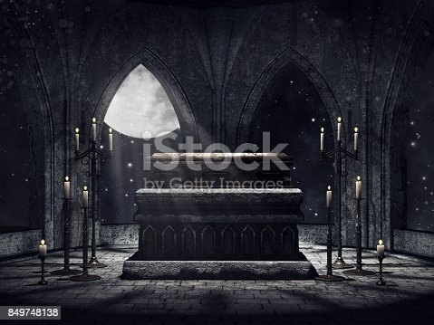 Dark vampire crypt with candles and moonlight. 3D render.