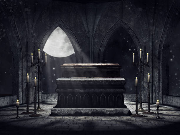 vampire crypt with candles - crypt stock pictures, royalty-free photos & images