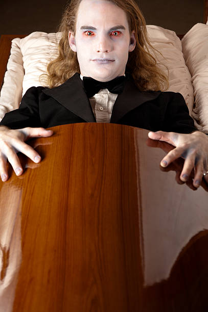 vampire in coffin - kellyjhall stock pictures, royalty-free photos & images