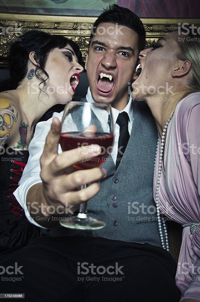 Vampire Lifestyle Drinking Blood stock photo