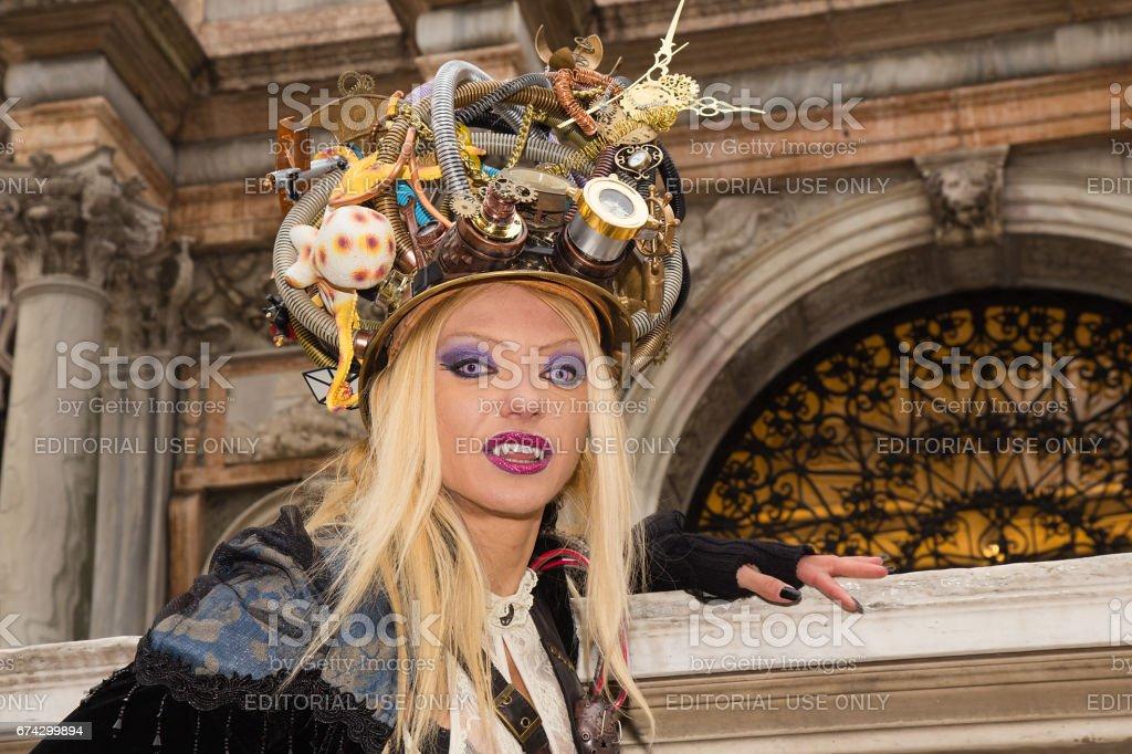 Vampir Portrait Weibliche Venezianische Maske Mit Magischen Blauen