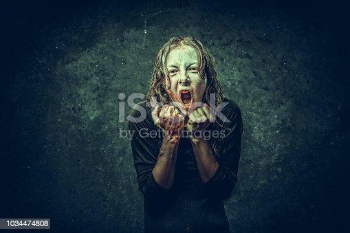 Vampire  woman  on dark
